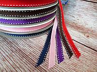 Лента репсовая со строчкой, двухсторонняя, 1 см, цвет КОРИЧНЕВЫЙ, фото 1