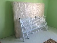 Кровать металлическая + матрас+ наматрасник (1800*2000 белая)