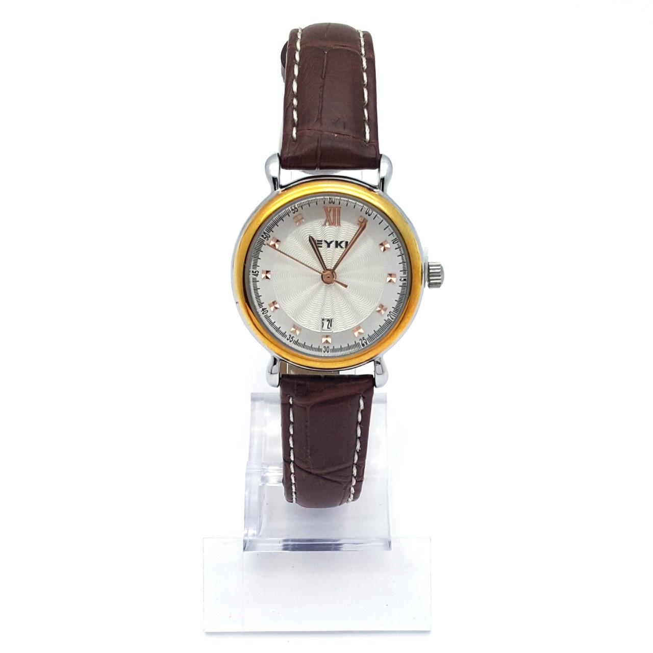 Часы EYKI на коричневом ремешке, длина ремешка 15-19см, циферблат 28мм