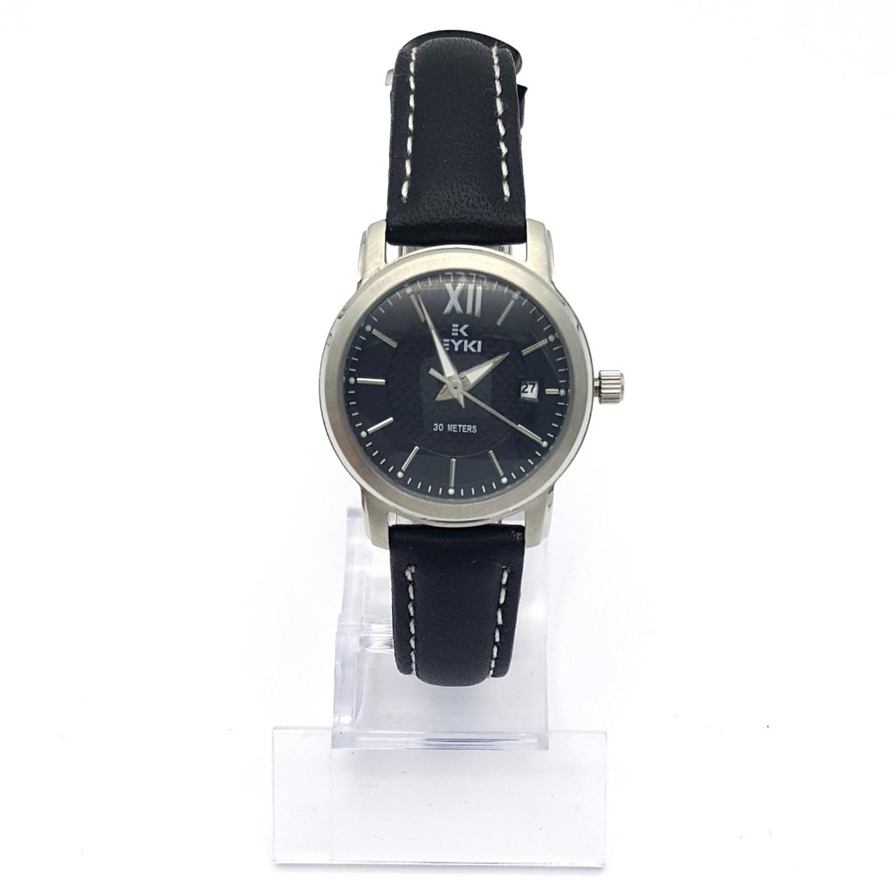 Часы EYKI Серебристые, на черном ремешке, длина 14,5-19см, циферблат 28