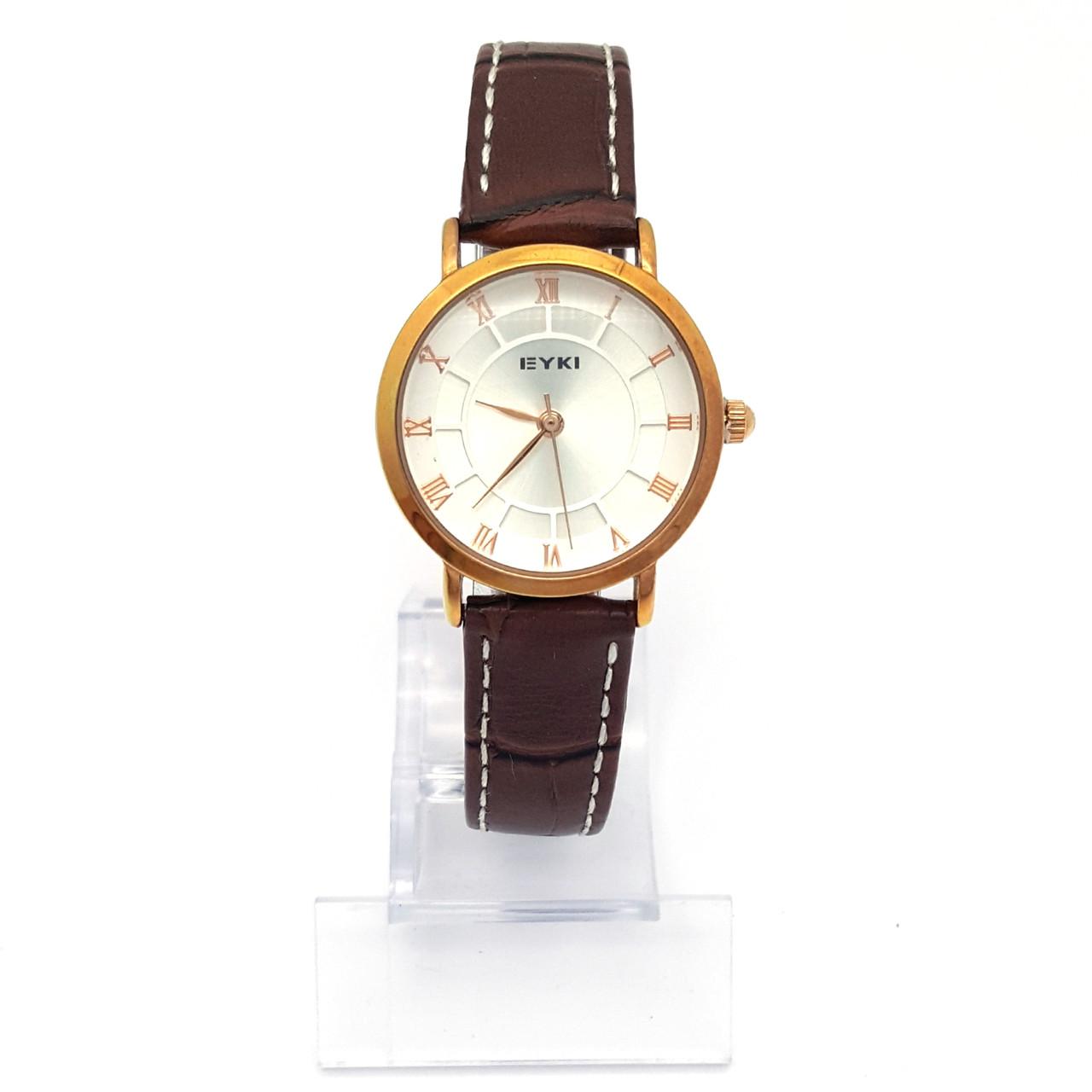 Часы EYKI Золотистые, на коричневом ремешке, длина ремешка 15-19см, циферблат 28мм