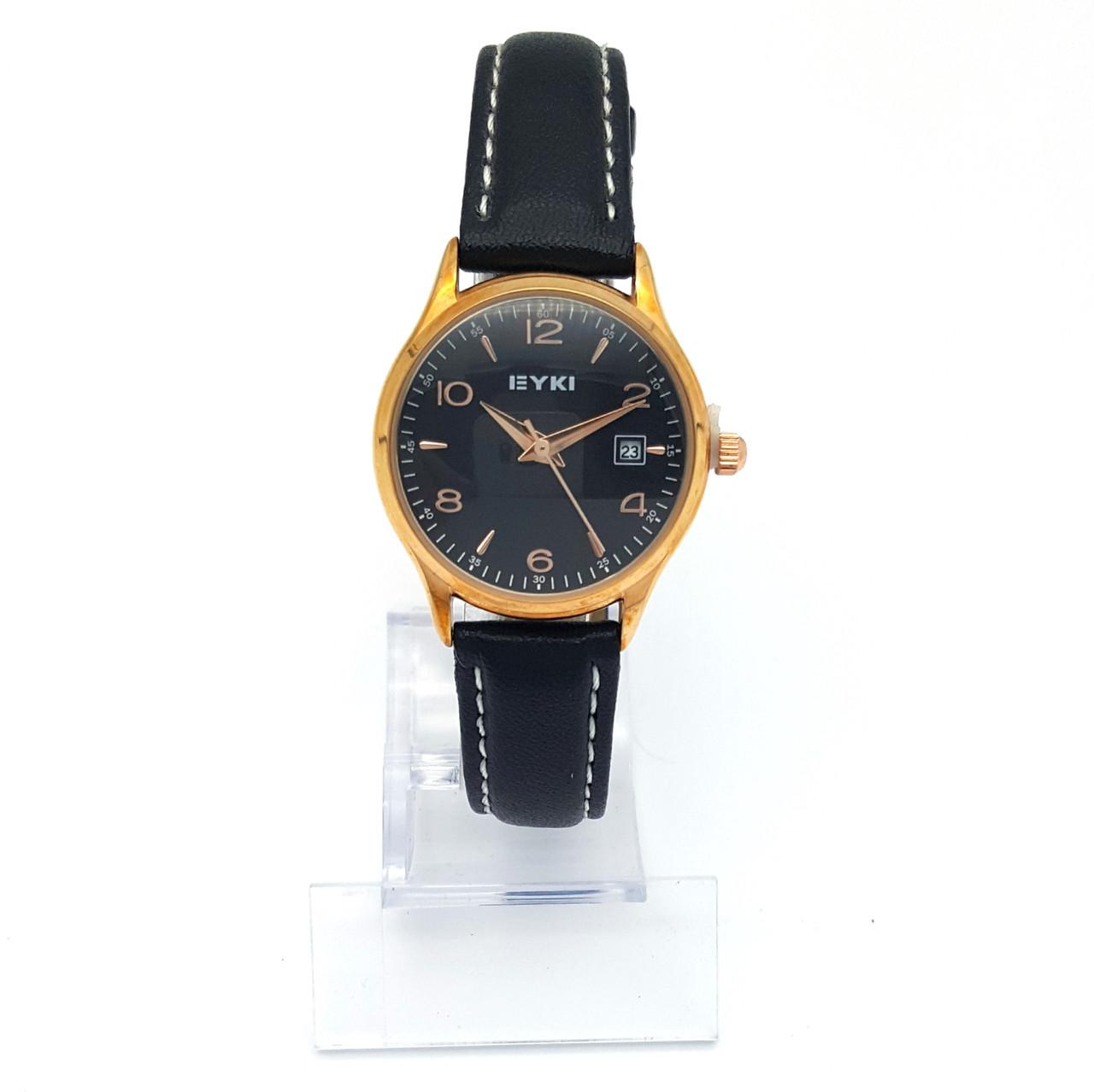 Часы EYKI под золото, на черном ремешке, длина 14,5-19см, циферблат 28мм