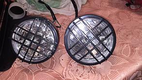 Круглые классические двойные мото фары в решетку  кастом стрит, фото 2