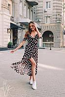 Длинное платье в цветочный принт на запах с оборками 60033051