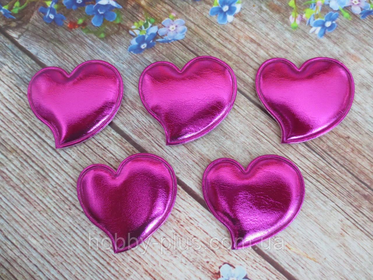 """Аппликация, патчи """"Сердце глянец"""", цвет малиновый, 46х46 мм, 1 шт."""