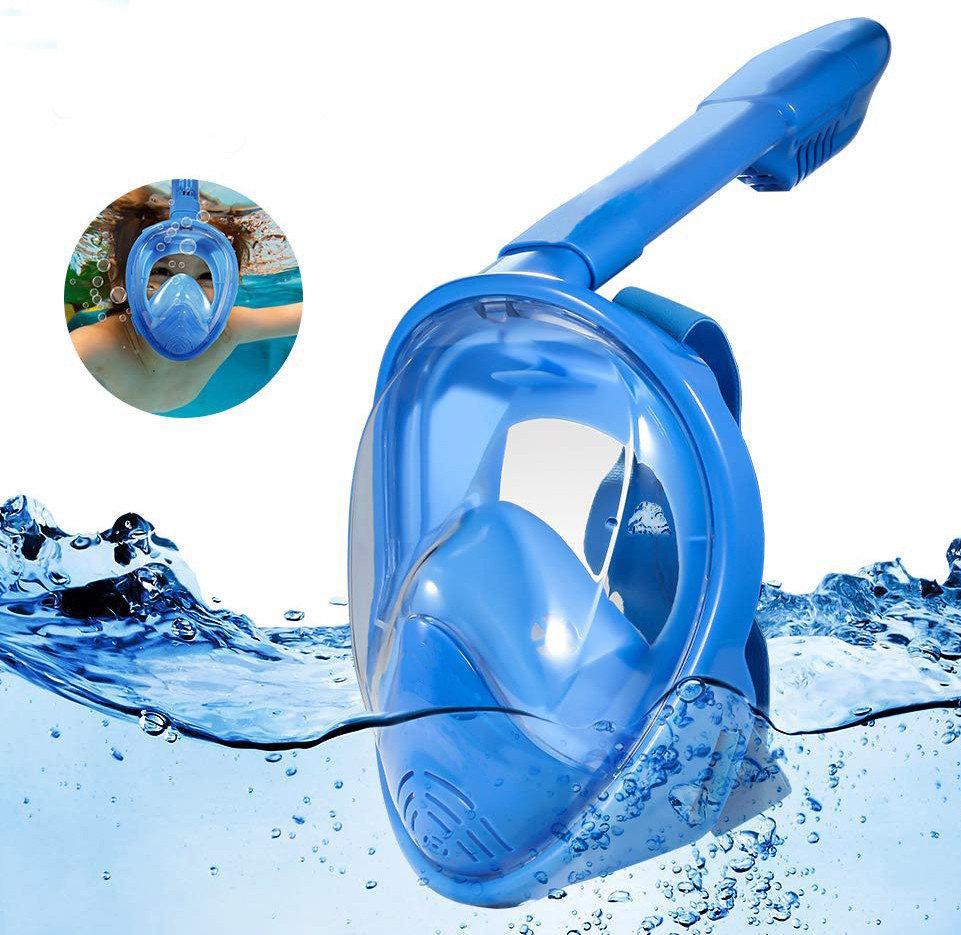 Детская  полнолицевая подводная маска для плавания с трубкой Free Breath Kids, Синяя (XS)