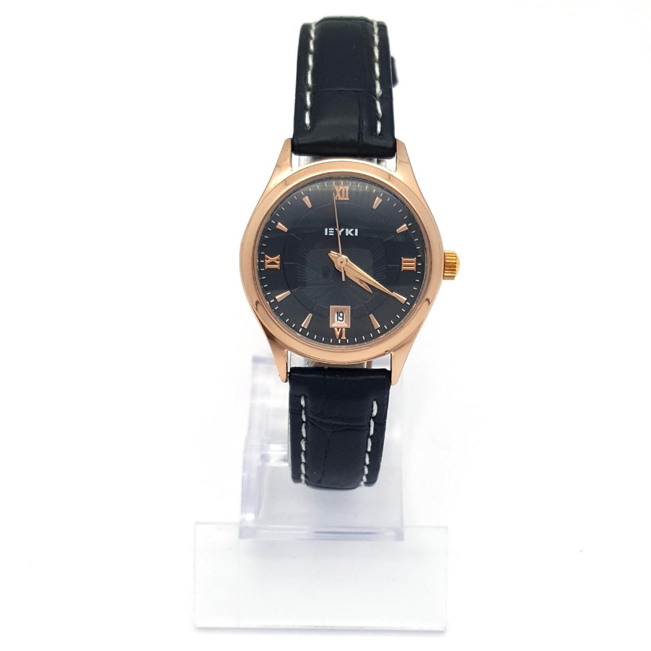 Часы EYKI, Черные под золото, длина ремешка 15-19см, циферблат 28мм