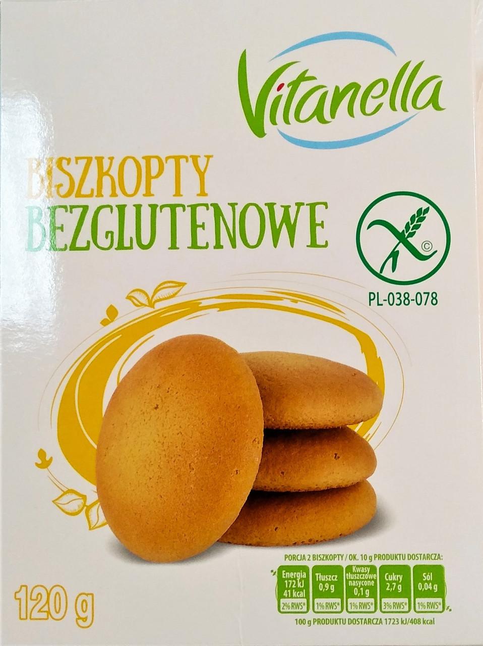 Бисквит Vitanella Biszkopty bezglutenowe 120 g