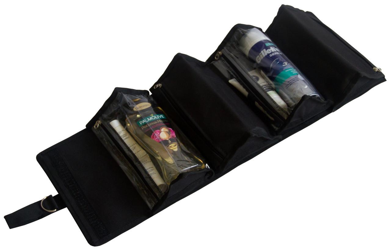 Косметичка раскладная со сьемными частями для путешествий Черная