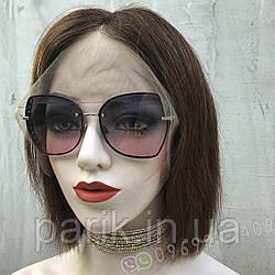 Женский коричневый парик из натуральных волос каре. На большую голову