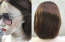 Женский коричневый парик из натуральных волос каре. На большую голову, фото 2