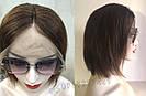 Женский коричневый парик из натуральных волос каре. На большую голову, фото 4