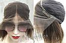 Женский коричневый парик из натуральных волос каре. На большую голову, фото 6