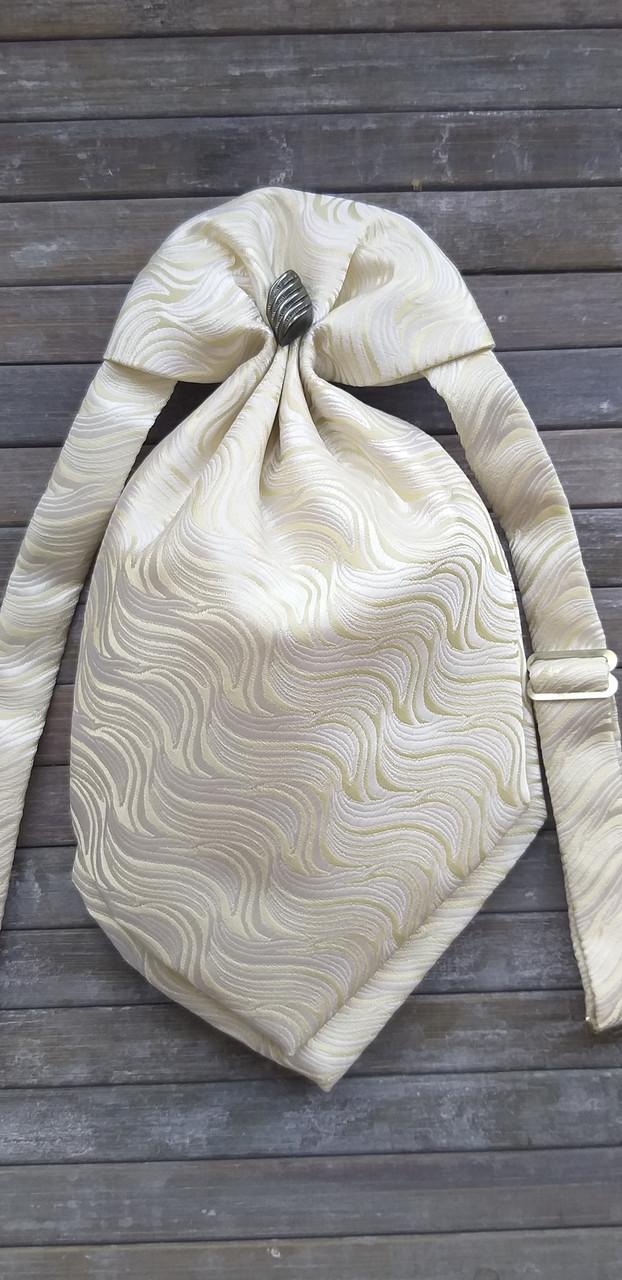 Галстук - пластрон для мальчиков Dunpillo с платком в карман кремовый арт. 13061902