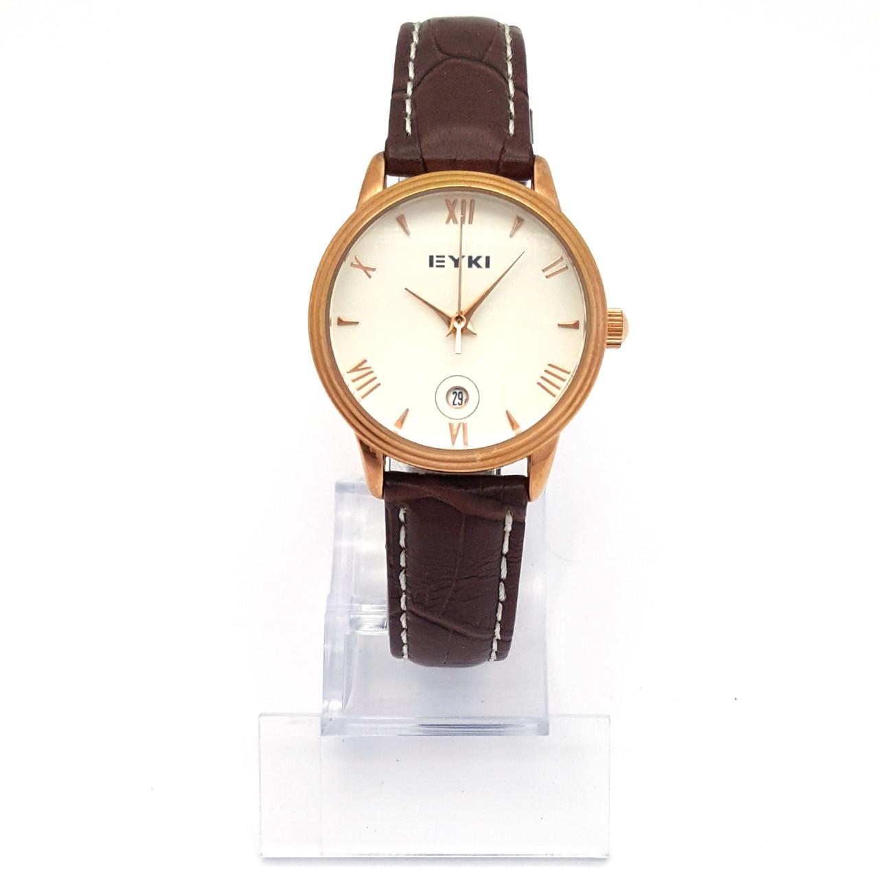 Часы EYKI Золотистые, коричневый ремешок, длина ремешка 15-18,5см, циферблат 28мм