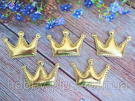 """Аплікація, патчі """"Корона глянець"""", колір золото, 55х38 мм, 1 шт."""