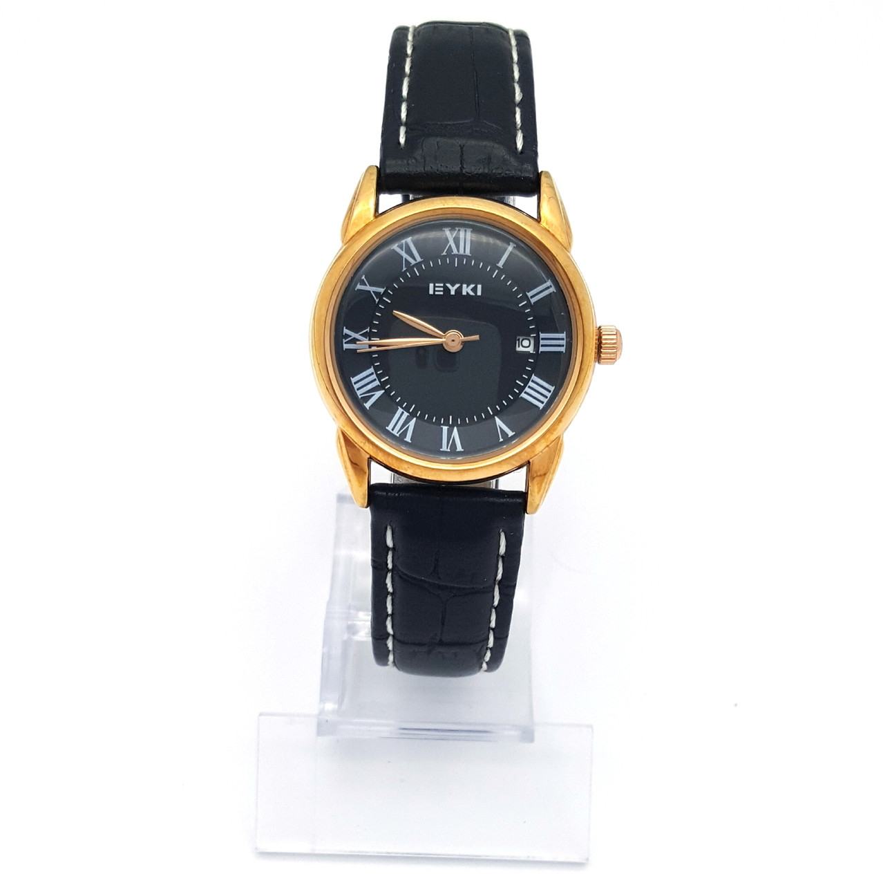 Часы EYKI, Черные, длина ремешка 15-19,5см, циферблат 28мм