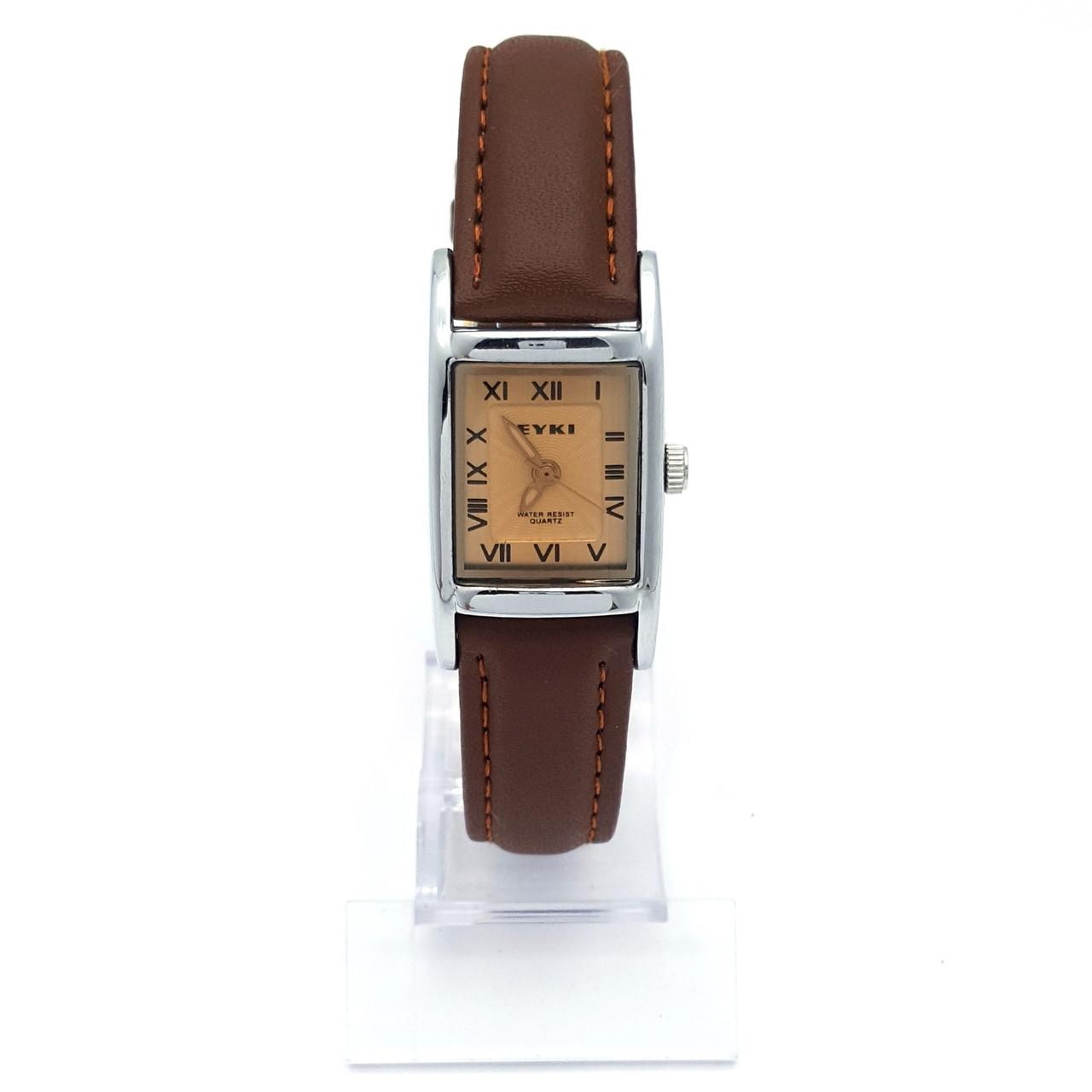 Часы EYKI под серебро, коричневый ремешок, длина 17,5-21см, циферблат 25*20мм