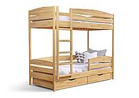 Кровать двухъярусная из натурального дерева  «Дуэт» с двойной планкой безопасности, фото 1
