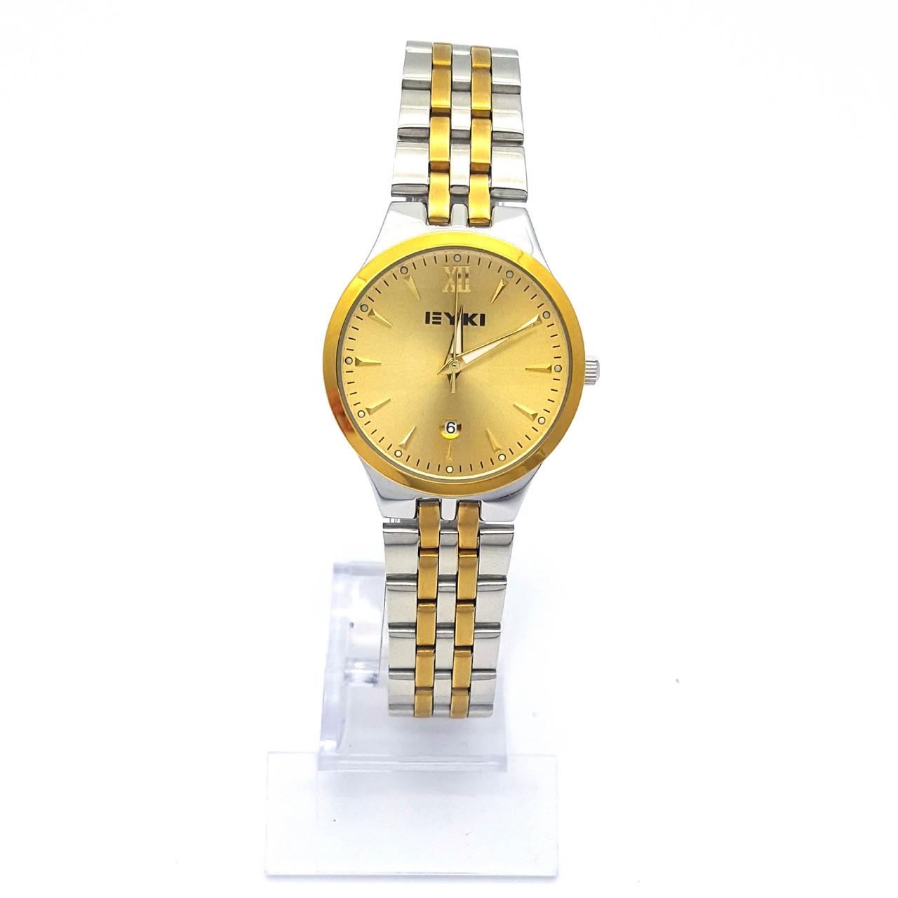 Часы EYKI под Серебро с золотистыми вставками, на браслете, р.20, циферблат 30мм
