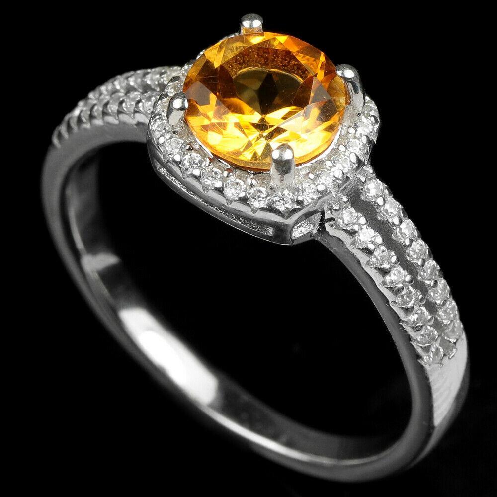 Серебряное кольцо с оранжево-желтым цитрином, Ø7 мм., 1844КЦЦ