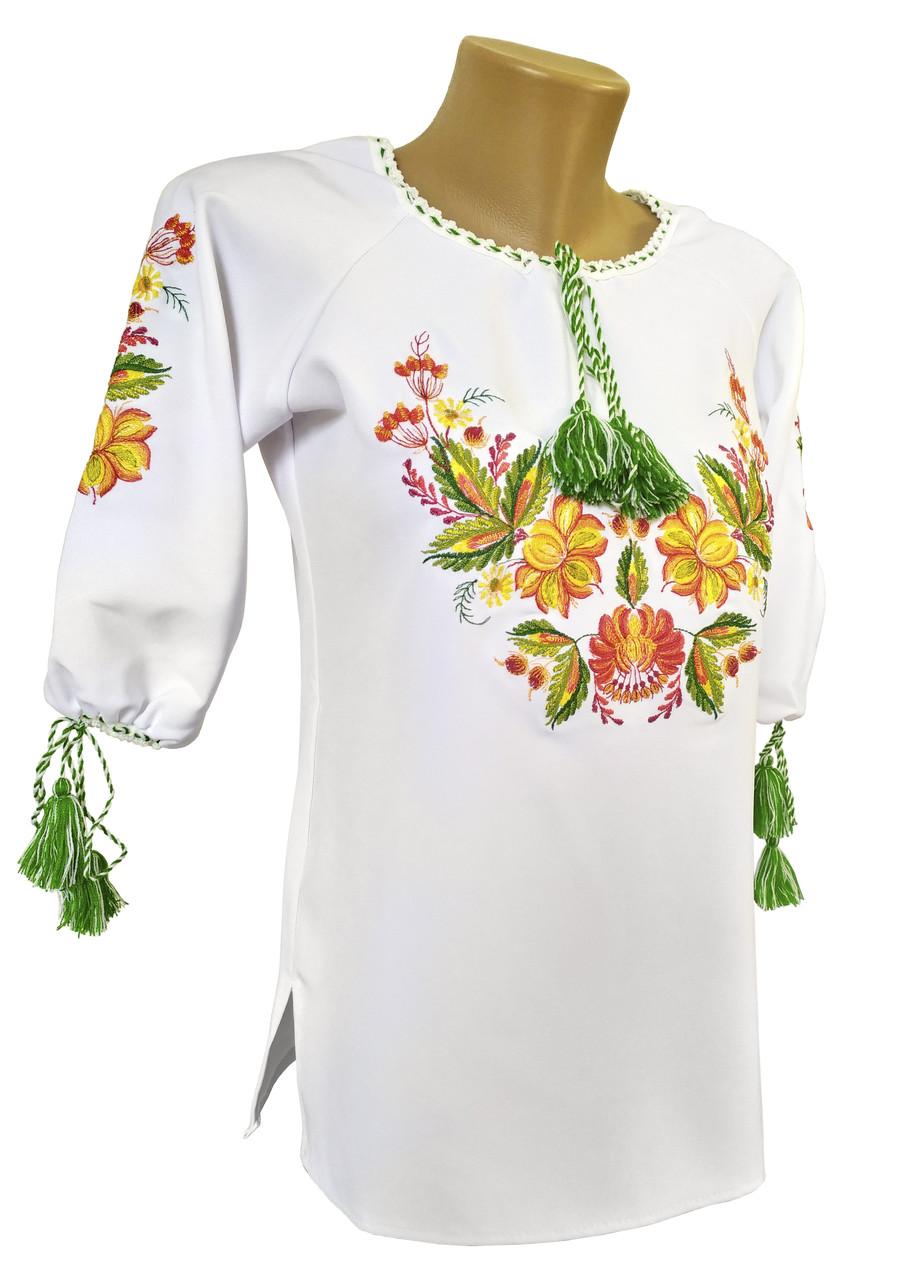 Класична жіноча вишиванка білого кольору із рукавом 3/4 «Петриківський розпис»