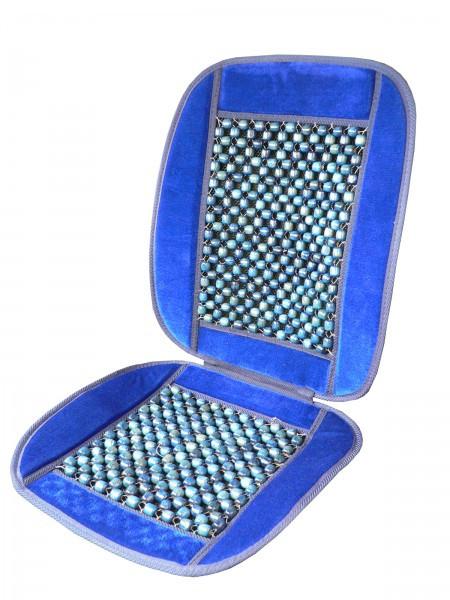 Накидка на сидіння велюровий, вставка масажер на дер. бусах,синій, CarCommerce, Польща