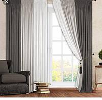 Готовые шторы и тюль Вдохновение №99. Комплект штор. Ширина каждой шторы 180 см. Цвета сшиты между собой