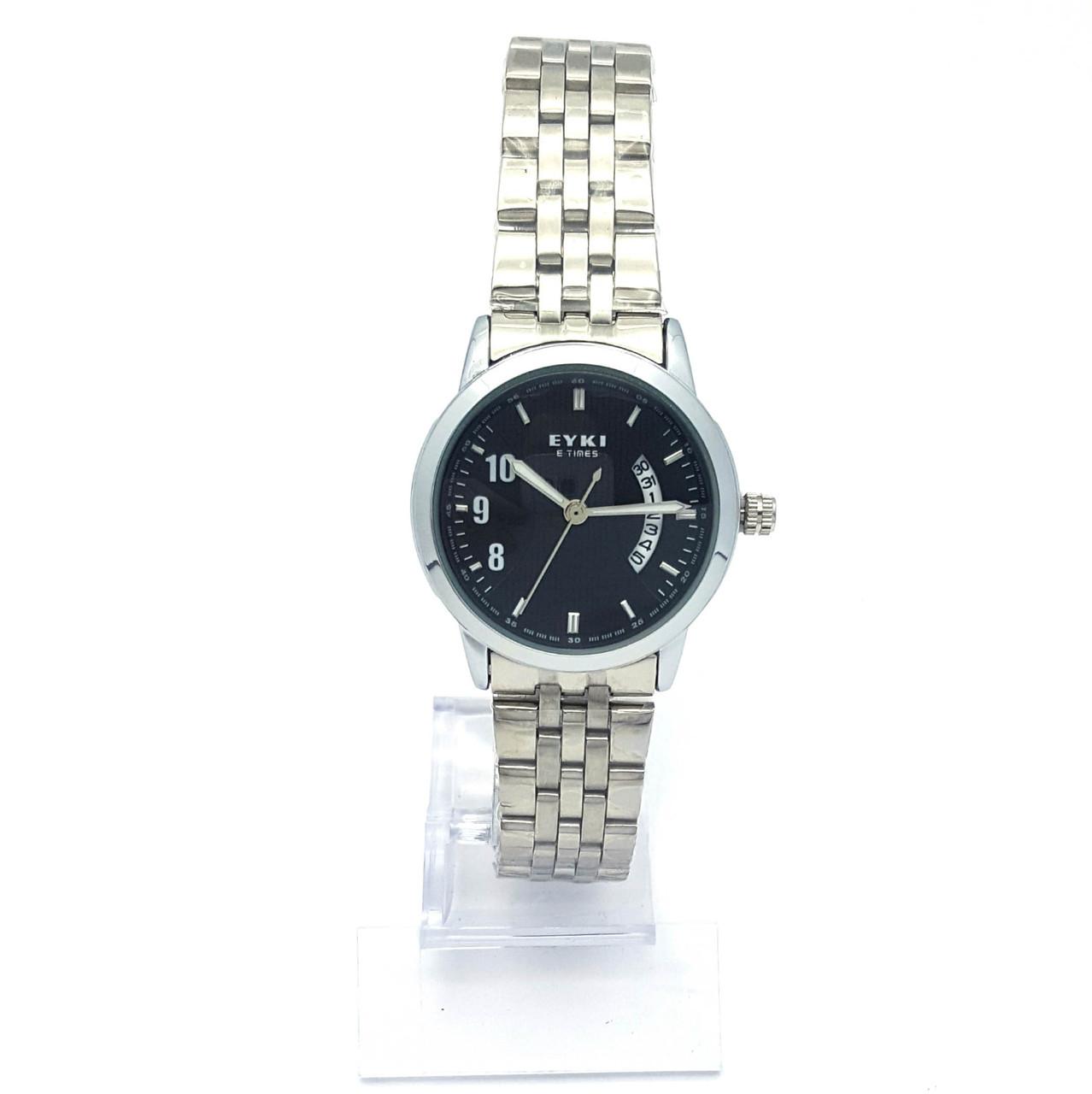 Часы EYKI Серебристые с черным циферблатом, браслет р.20, циферблат 29