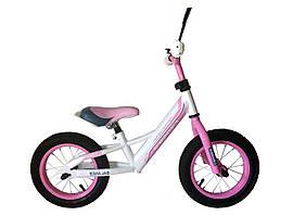 """Детский беговел Crosser Balance Bike 12"""" бело-розовый"""