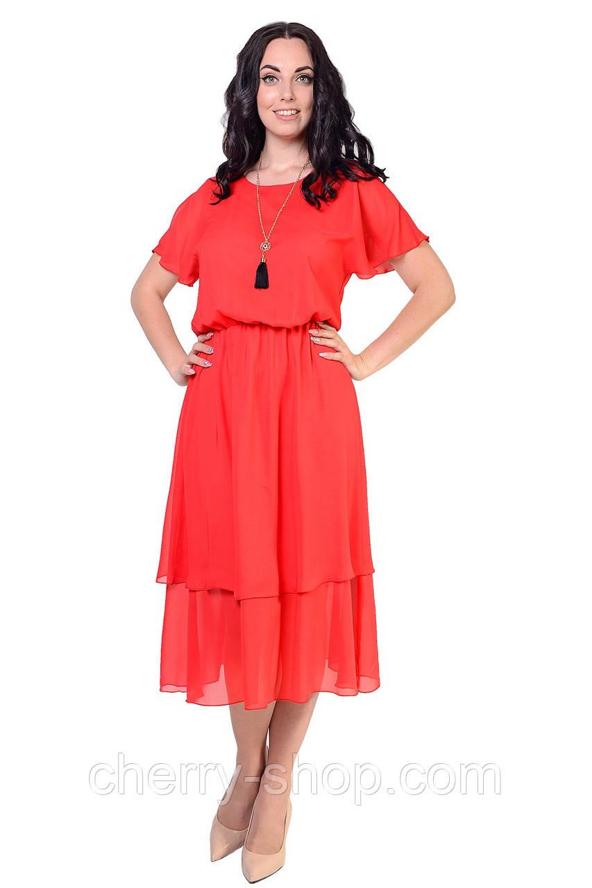 Красное летнее платье в размере 46,48,50,52