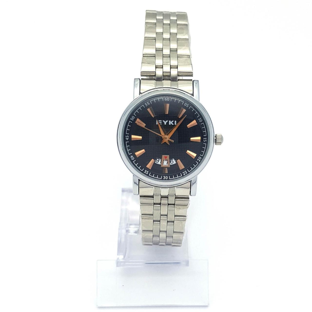 Часы EYKI Серебристые на браслете, с черным циферблатом, р.20, циферблат 29мм