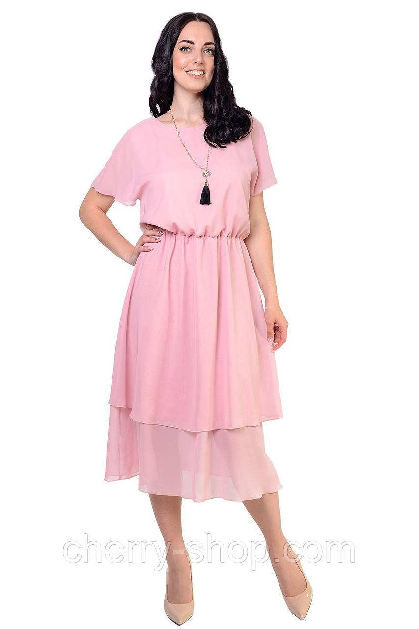 Женственное легкое платье из шифона на трикотажной подкладке