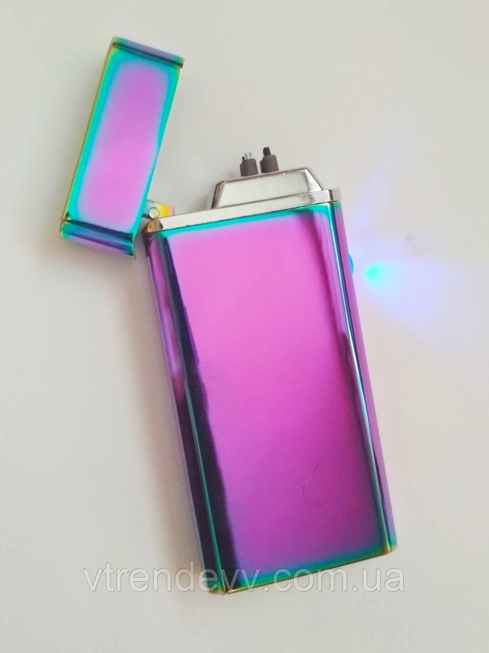 Зажигалка металлическая двойной дуги Lighter S612 Original хамелеон