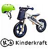 Деревянный велосипед Kinderkraft  Runner  Motor + ВЕЛОСИПЕДНЫЙ ШЛЕМ  (зеленый)