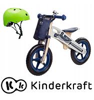 Деревянный велосипед Kinderkraft  Runner  Motor + ВЕЛОСИПЕДНЫЙ ШЛЕМ  (зеленый), фото 1