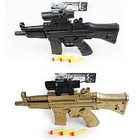 Автомат детский 358-2A-3A, 37см, мягкие пули-присоски 3шт, лазер, 2цв, на бат(таб), в кульке, 36-20-3,5см