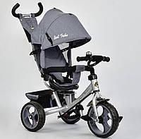Детский трёхколёсный велосипед 5700 - 3650 Best Trike Серый, поворотное сиденье, с ручкой