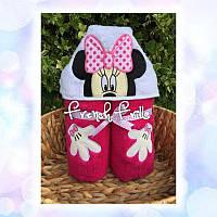 Детское полотенце игрушка с капюшоном  Минни Маус, Микки Маус Disney Дисней Вышивка140см х 70см