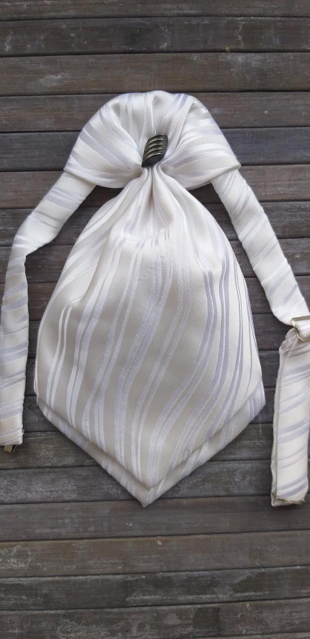 Галстук - пластрон для мальчиков Dunpillo с платком в карман белый