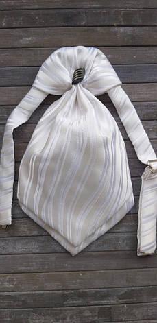 Галстук - пластрон для мальчиков Dunpillo с платком в карман белый, фото 2
