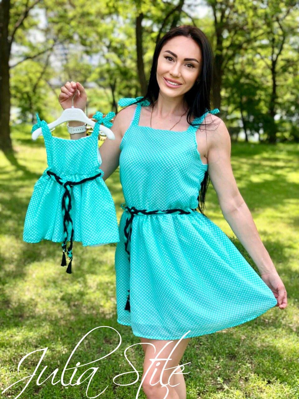 Шифоновое платье для мамы и дочки с пышной юбкой 28md47