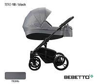Коляска Bebetto Tito 18 черная/белая рама