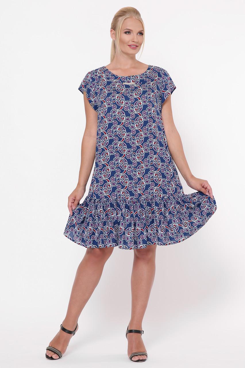 Платье женское Яна вензель синее
