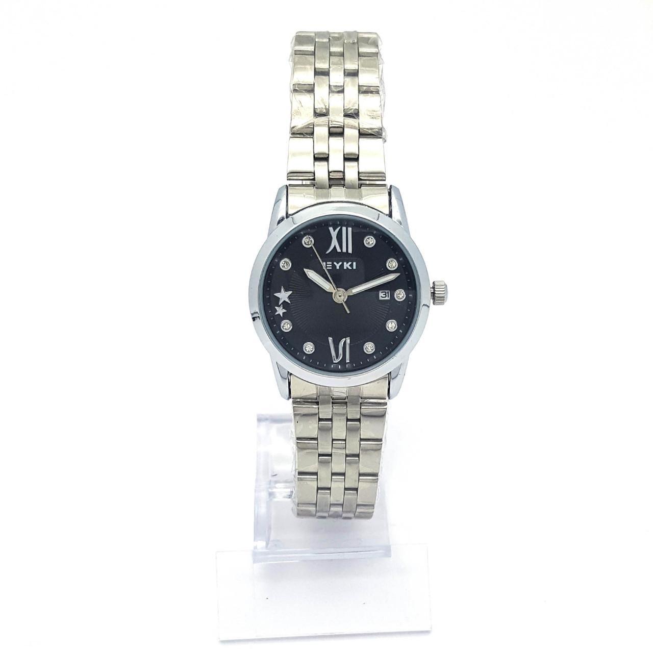 Часы EYKI Серебристые, с черным циферблатом в стразах, браслет р.20, циферблат 29мм