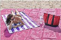 Пляжная подстилка анти-песок Sand Free Mat (200x200) Розовый   пляжный коврик   коврик для моря