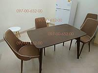 Стол кухонный Орех Темный  массив БУК+МДФ не раскладной Модерн 120х75 СО-293