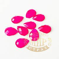 Клеевые неоновые стразы Капли, цвет Neon Rose, размер 10х14мм*1шт