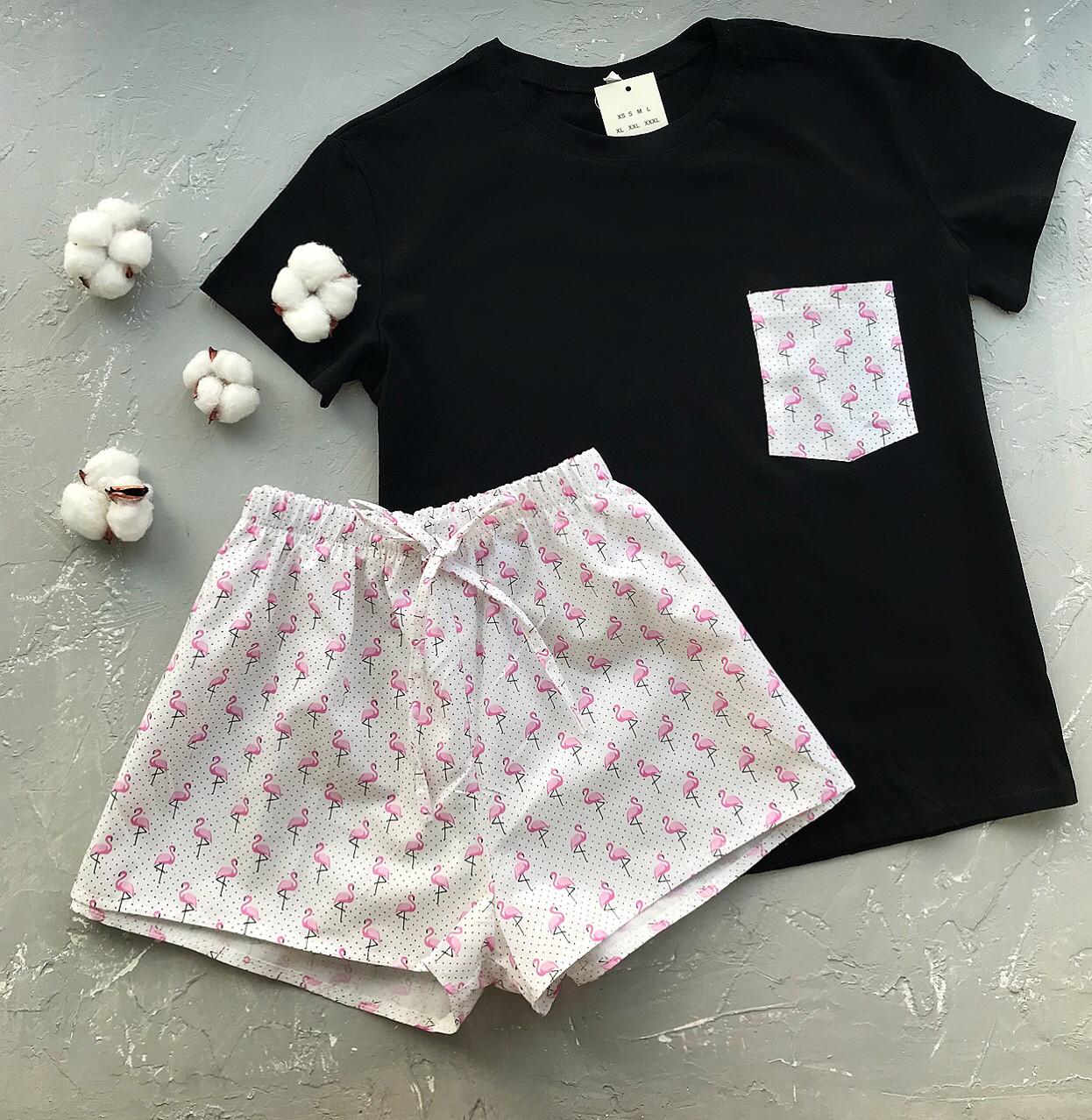 Пижама футболка и шорты S-M фламинго