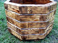 Вазон, кашпо, кадка деревянная для растений и деревьев (8 граней), фото 1